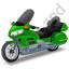 Touring Motorcycle Green Icon, PNG/ICO, 64x64
