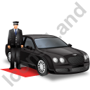 Luxury Car Driver Black Icon, PNG/ICO, 128x128