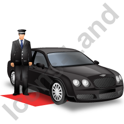 Luxury Car Driver Black Icon, PNG/ICO, 256x256