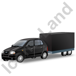 Minicar Trailer Black Icon