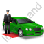 Luxury Car Driver Green Icon