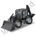Backhoe Loader Black Icon