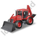 Backhoe Loader Red Icon, PNG/ICO, 128x128