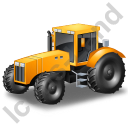 Farm Tractor Yellow Icon, PNG/ICO, 128x128