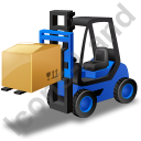 Forklift Truck Loaded Blue Icon