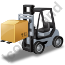 Forklift Truck Loaded Grey Icon, PNG/ICO, 128x128