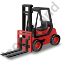 Forklift Truck Red Icon, PNG/ICO, 128x128