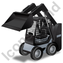 Skid Steer Loader Black Icon, PNG/ICO, 128x128