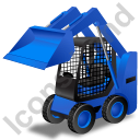 Skid Steer Loader Blue Icon, PNG/ICO, 128x128