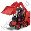Skid Steer Loader Red Icon, PNG/ICO, 128x128