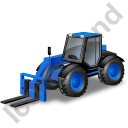 Telescopic Handler Blue Icon, PNG/ICO, 128x128