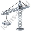 Tower Crane Grey Icon, PNG/ICO, 128x128