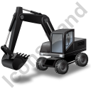 Wheeled Excavator Black Icon, PNG/ICO, 128x128