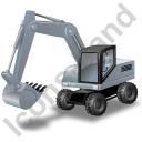 Wheeled Excavator Grey Icon, PNG/ICO, 128x128