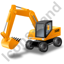 Wheeled Excavator Yellow Icon