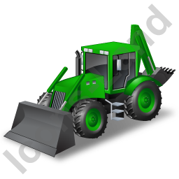 Backhoe Loader Green Icon