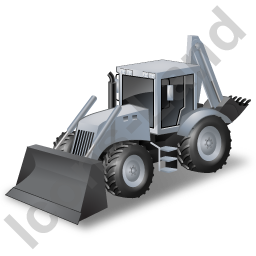 Backhoe Loader Grey Icon