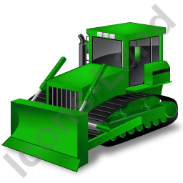 Bulldozer Green Icon, PNG/ICO, 256x256