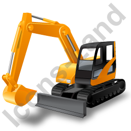Compact Excavator Yellow Icon