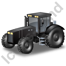 Farm Tractor Black Icon, PNG/ICO, 256x256