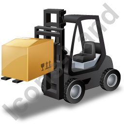 Forklift Truck Loaded Black Icon