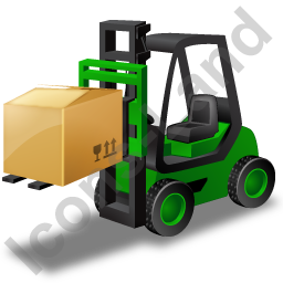 Forklift Truck Loaded Green Icon