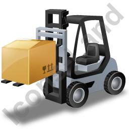 Forklift Truck Loaded Grey Icon, PNG/ICO, 256x256