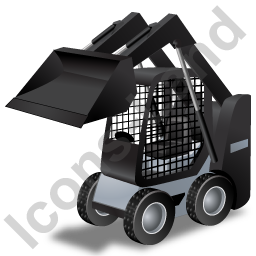 Skid Steer Loader Black Icon, PNG/ICO, 256x256