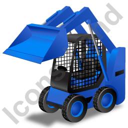 Skid Steer Loader Blue Icon, PNG/ICO, 256x256