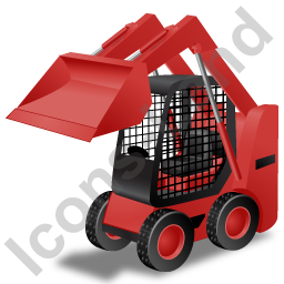Skid Steer Loader Red Icon, PNG/ICO, 256x256