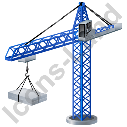 Tower Crane Blue Icon, PNG/ICO, 256x256