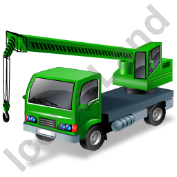 Truck Mounted Crane Working Green Icon