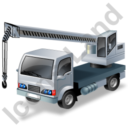 Truck Mounted Crane Working Grey Icon