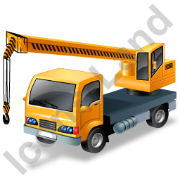 Truck Mounted Crane Working Yellow Icon