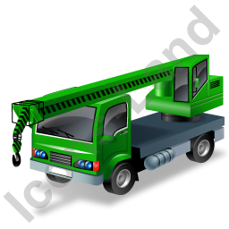 Truck Mounted Crane Green Icon, PNG/ICO, 256x256