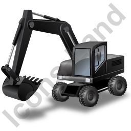 Wheeled Excavator Black Icon, PNG/ICO, 256x256