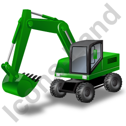 Wheeled Excavator Green Icon