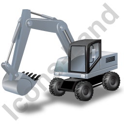 Wheeled Excavator Grey Icon, PNG/ICO, 256x256