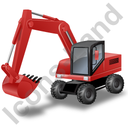 Wheeled Excavator Red Icon