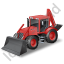 Backhoe Loader Red Icon, PNG/ICO, 64x64