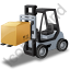 Forklift Truck Loaded Grey Icon, PNG/ICO, 64x64