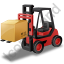 Forklift Truck Loaded Red Icon