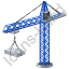 Tower Crane Blue Icon, PNG/ICO, 64x64