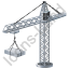 Tower Crane Grey Icon, PNG/ICO, 64x64