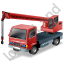 Truck Mounted Crane Working Red Icon