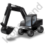 Wheeled Excavator Black Icon, PNG/ICO, 64x64