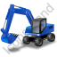 Wheeled Excavator Blue Icon