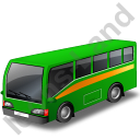 Commuter Bus Green Icon, PNG/ICO, 128x128