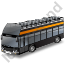 Double Decker Bus Open Top Black Icon