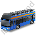 Double Decker Bus Open Top Blue Icon